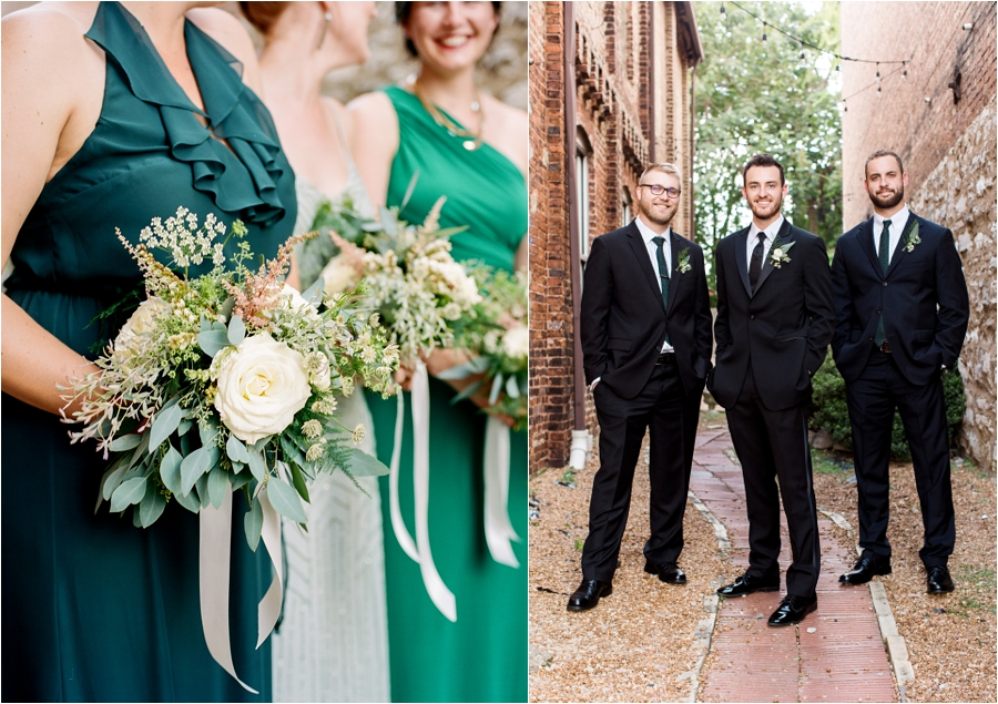 green shades bridal party and flowers