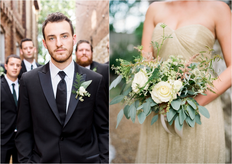 groom and flowers
