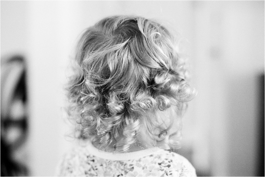 young girl's silhouette of curls at home