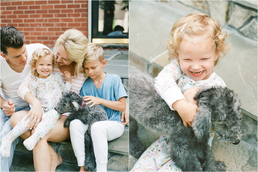 young family and their new puppy in charlottesville, va